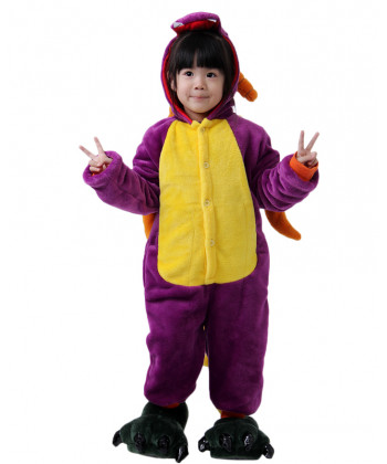 Kids Purple Dinosaur Pajamas Animal Onesies Costume Kigurumi