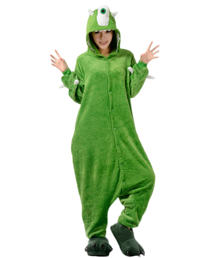 375b1fef8c63 Adult Monsters Mike Wazowski Pajamas Animal Onesies Costume Kigurumi