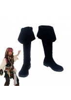 Pirates of the Caribbean Captain Jack Sparrow Black Boots Cosplay Shoes