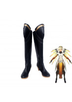 Overwatch Mercy Angela Ziegler High Heel Black Boots Cosplay Shoes