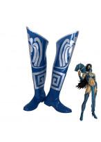 Mortal Kombat 9 Kitana Blue Boots Cosplay Shoes