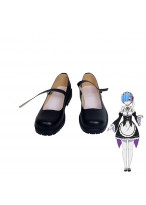Re Zero Starting Life in Another World Rem Cosplay Shoes Black Boots Custom Made