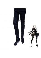 NieR Automata YoRHa 2B Cosplay Boots Black Shoes