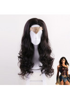 Justic League Wonder Woman Diana Prince Long Curly Black Cosplay Wig