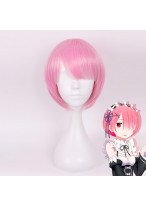 Re Zero Rem Short Straight Pink Cosplay Wig
