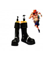 One Piece Portgas D Ace Cosplay Shoes Black Boots Custom Made