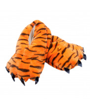 Unisex Animal Tiger Print cosplay Kigurumi fleece slippers shoes