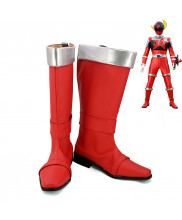 Uchu Sentai Shishi Red Rakki Lucky Cosplay Shoes Men Boots