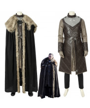 Game of Thrones Season 8 Jon Snow Cosplay Costume with Cloak