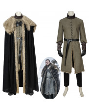 Game of Thrones Season 8 Jon Snow Cosplay Costume with Cloak Version 2