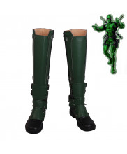Deadpool Wade Winston Wilson Cosplay Shoes Men Boots Green Version