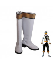 Power Ranger Gokai Silver Gai Ikari Cosplay Shoes Men Boots