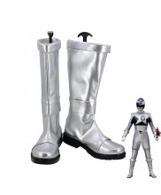 Uchu Sentai Kyuranger Naga Ray Hebitsukai Silver Cosplay Shoes Men Boots
