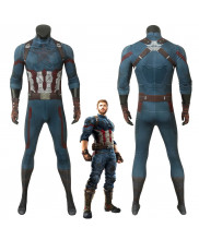 Avengers 3 Infinity War Captain America Steve Rogers Jumpsuit Cosplay Costume 3D Printed