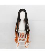 Demon Slayer Kimetsu No Yaiba Nezuko Kamado Cosplay Wig Black Orange Hair