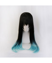 Demon Slayer Kimetsu No Yaiba Muichiro Tokito Cosplay Wig Black Blue Hair