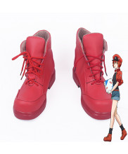 Cells at Work WBC Red Blood Cell Erythrocyte Red Cosplay Boot Shoes