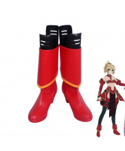 Fate Apocrypha Saber Mordred Red Boots Cosplay Shoes