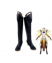 Overwatch Mercy Angela Ziegler High Heel Black Boots Cosplay Shoes