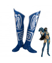 Mortal Kombat 9 Kitana Blue Boots Cosplay Shoes