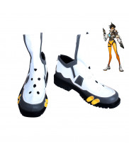 OW Overwatch Tracer Lena Okston Cosplay Shoes Black White Boots Custom Made