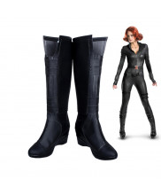 Captain America Civi War Black Widow Cosplay Shoes Black Long Boots Custom Made