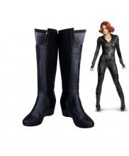 Captain America Civi War Black Widow Cosplay Shoes Black Long Boots Custom Made