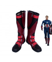 Marvel The Avengers Captain America Steven Rogers Red Shoes Cosplay Boots