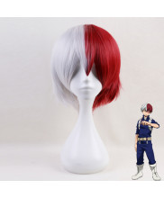 My Hero Academia Todoroki Shoto Short White And Red Cosplay Wig