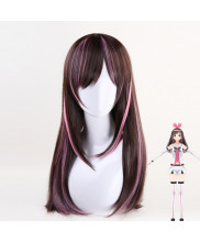 Kizuna AI Long Straight Brown Mixed Pink Cosplay Wig