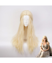 Game of Thrones Daenerys Targaryen Long Curly Milk Golden Cosplay Wig