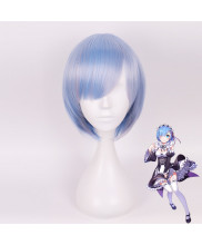 Re Zero Rem Short Straight Light Blue Gradient Cosplay Wig