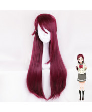 Love Live Sunshine Sakurauchi Riko Long Straight Wine Red Cosplay Wig