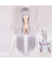 Re Zero Emilia Long Straight Silver Cosplay Wig