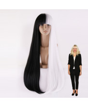 Sia Furler Long Straight Half Black Half White Wig