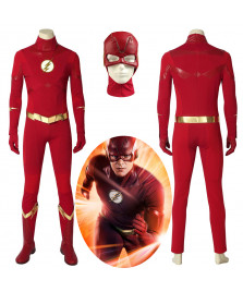 The Flash Season 5 Barry Allen Cosplay Costume Red Halloween Outfit