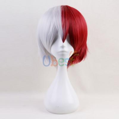 My Hero Academia Todoroki Shoto Short White And Red Cosplay Wig