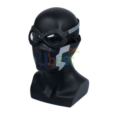 Winter Soldier Bucky Barnes Mask with Goggles Cosplay PVC Helmet Prop Fit Most